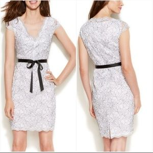 Calvin Klein White Floral Lace V Neck Party Dress